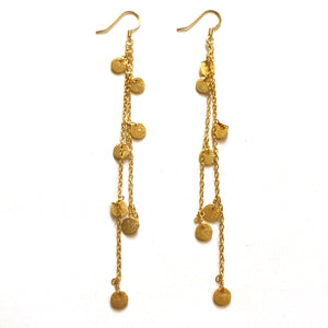 Gold Disc Drop Earrings - Nikki Smith Designs