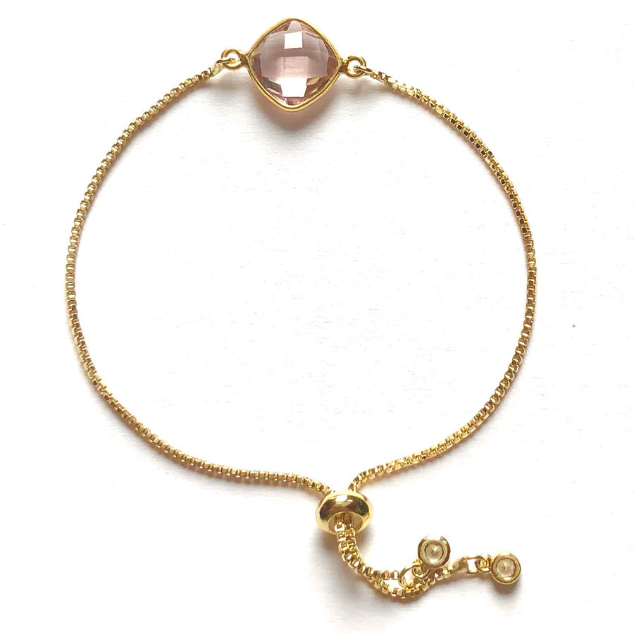 Golden Blush Quartz Slider Bracelet