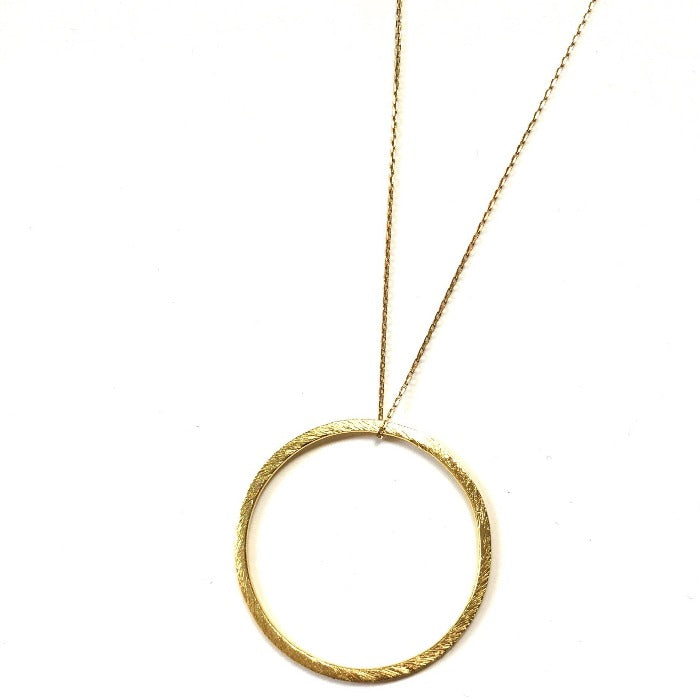 Long Circle Drop Necklace in Gold