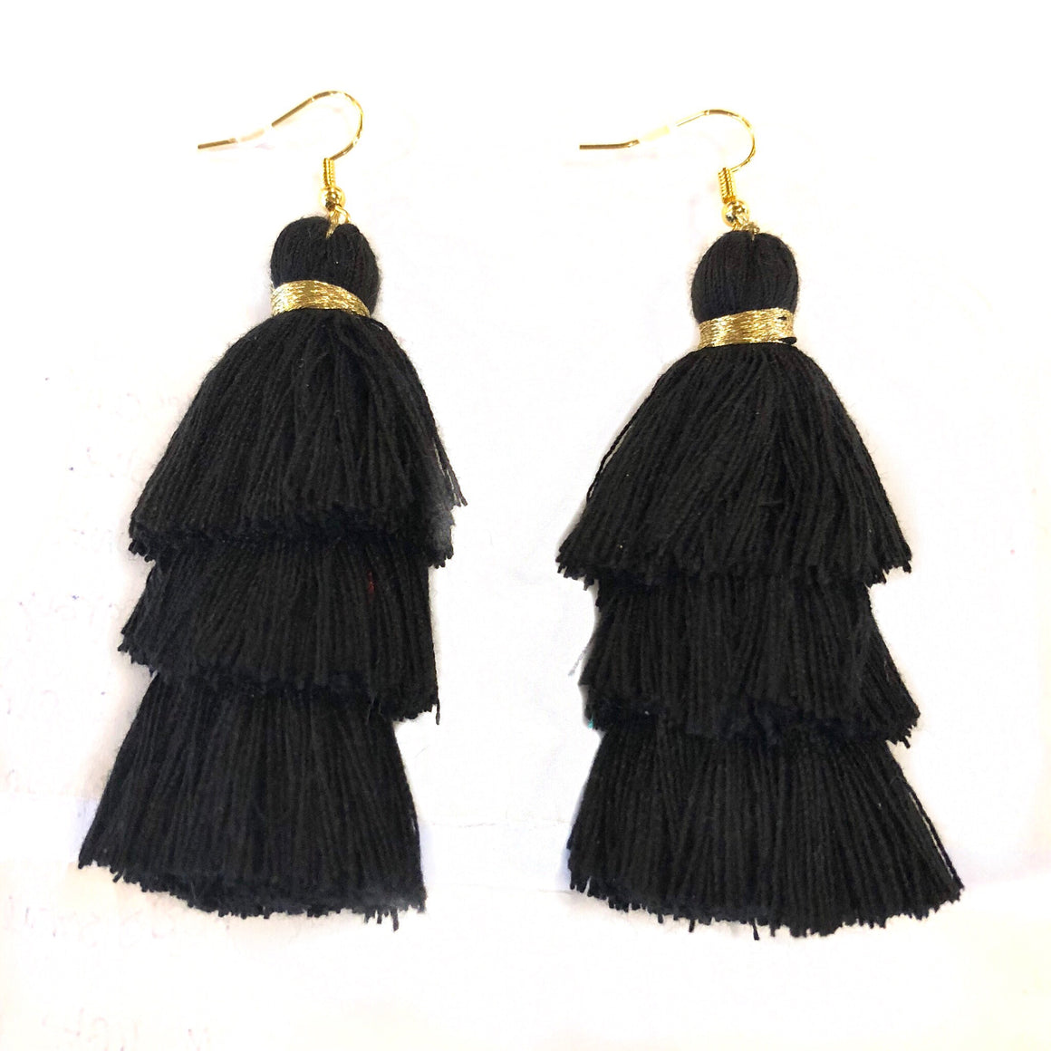 Black and Gold fringe Tassels - Nikki Smith Designs