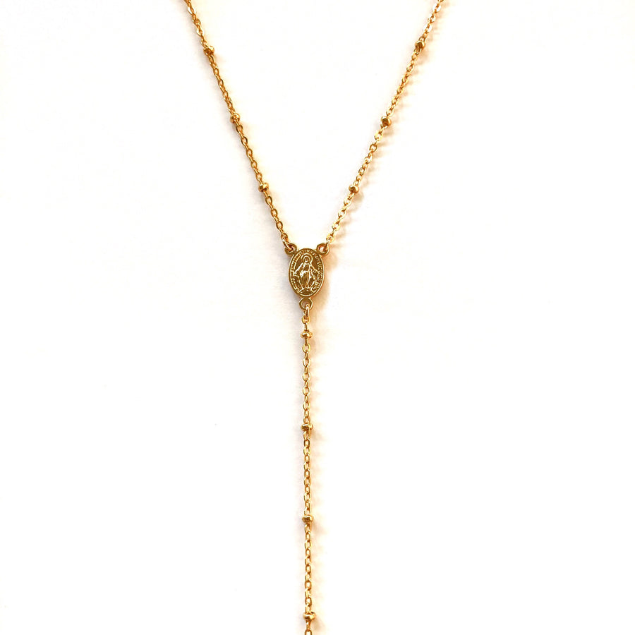 virgin mary coin lariat gold necklace