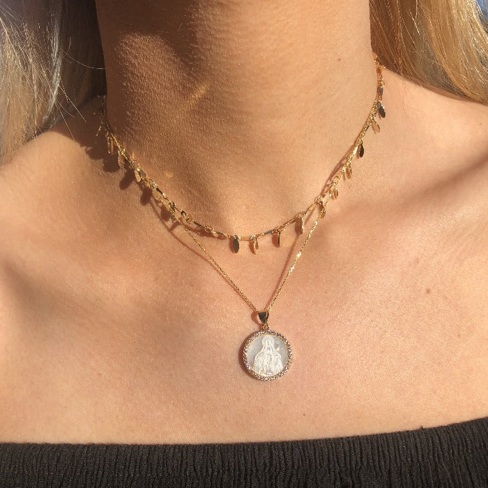 Virgin Mary Statement Necklace in gold, rose gold, and silver