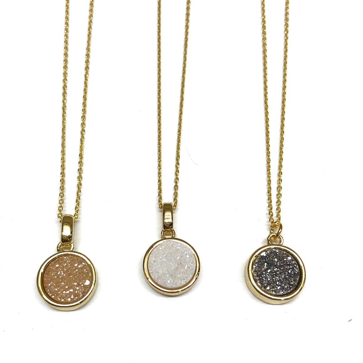 Circle Druzy Short Necklace - Nikki Smith Designs