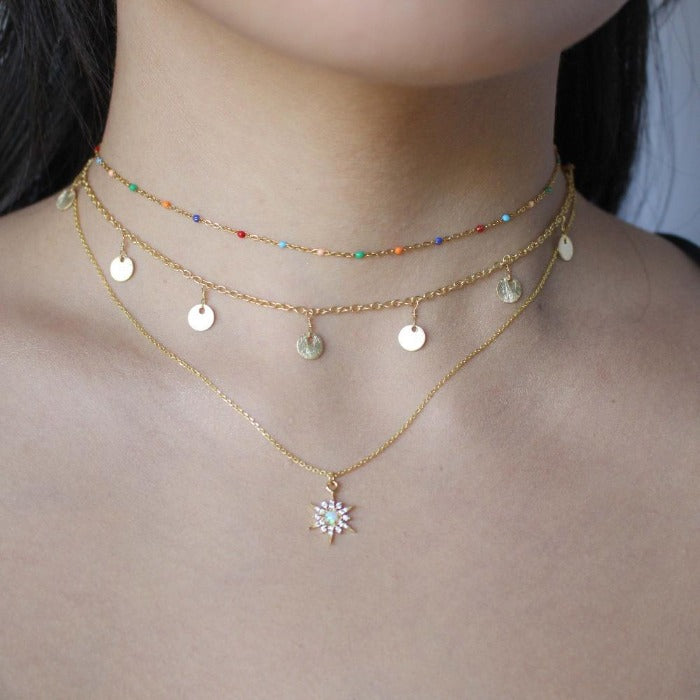 Golden Opal Charm Necklaces - Nikki Smith Designs