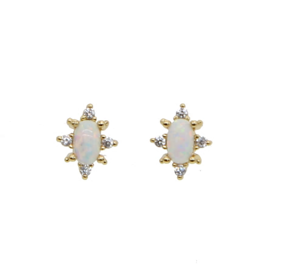opal studs with cubic zirconia gems