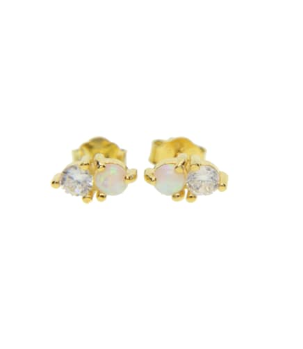 opal stud earrings in gold