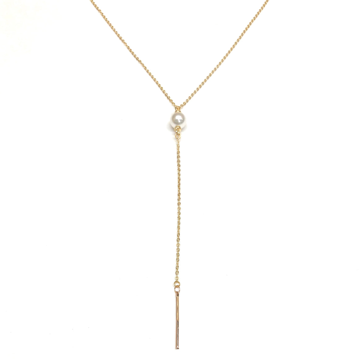 pearl drop necklace lariat gold