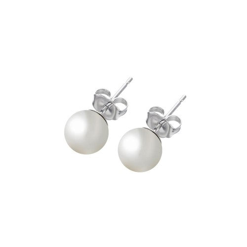 Silver Pearl Studs - Nikki Smith Designs