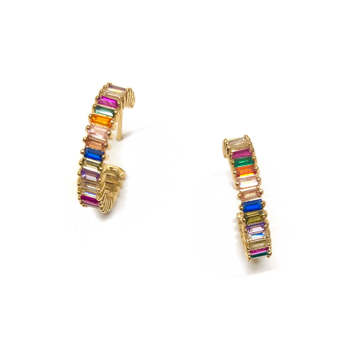 golden rainbow shimmering hoop huggie earrings