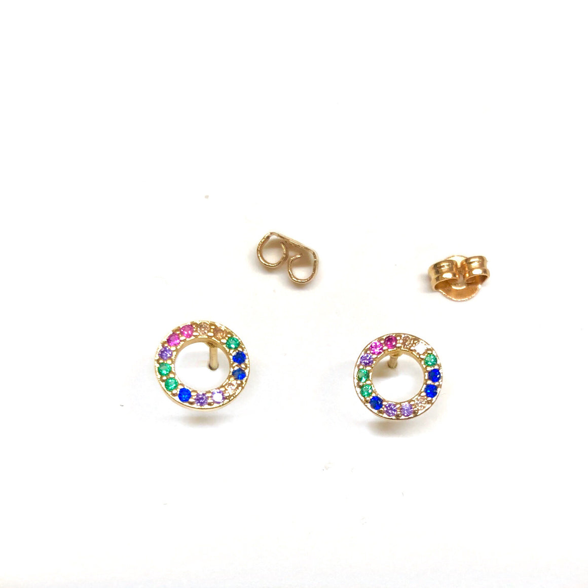 open circle rainbow stud earrings
