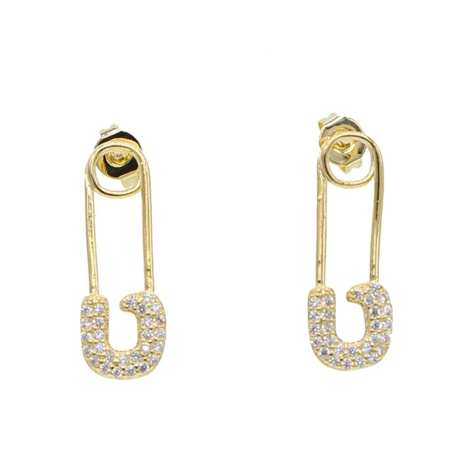 Golden Safety Pin Studs - Nikki Smith Designs