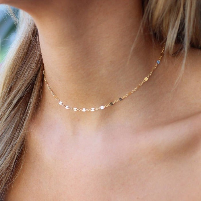 Shimmering Golden Plain Chain Choker - Nikki Smith Designs
