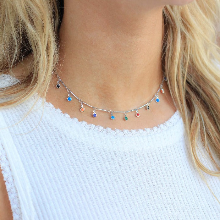 Fiesta Charm Choker-Silver - Nikki Smith Designs
