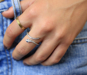 Silver Snake Adjustable Ring