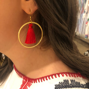 Silk Tassel Hoop Earrings