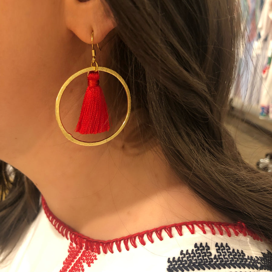 silk tassel earrings with gold hoop