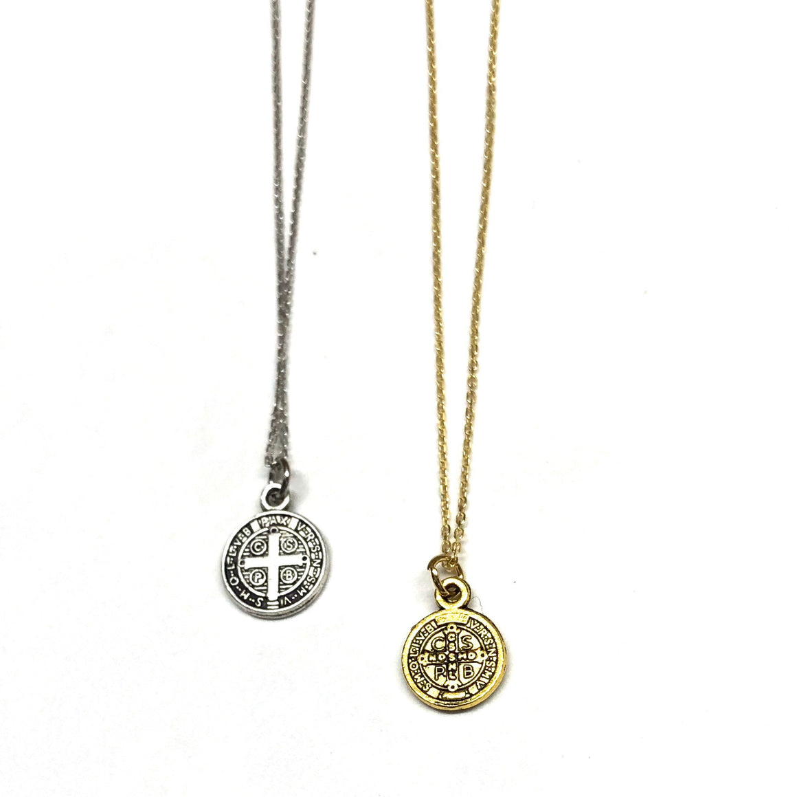 small saint necklace in silver and gold