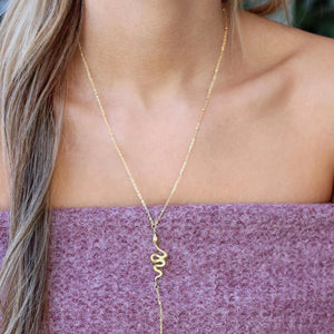 Gold Python Lariat - Nikki Smith Designs