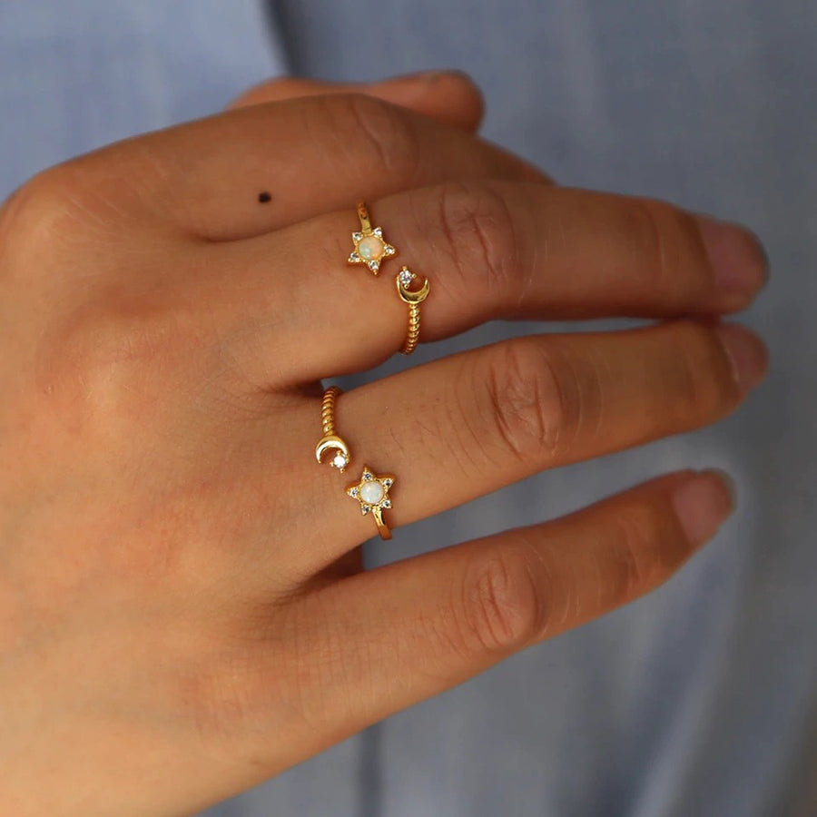 Opal Star & Moon Ring - Nikki Smith Designs