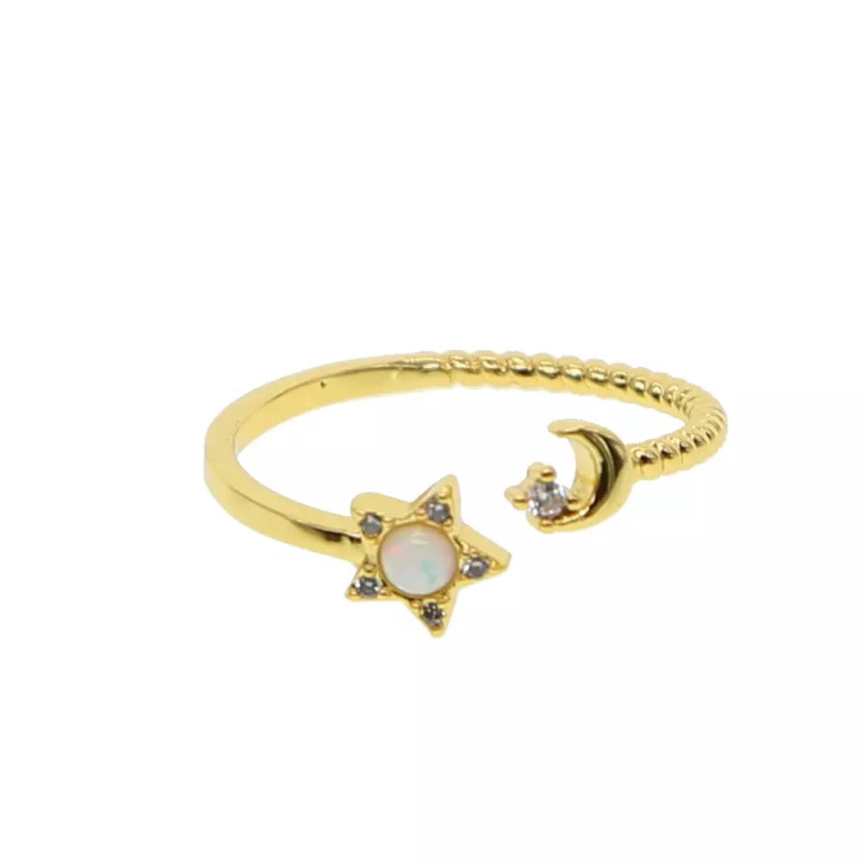 gold filled ring with opal star and moon