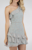 One Shoulder Dress With Layered Frill Hem