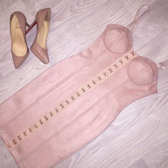 Suede Pink Mini Dress