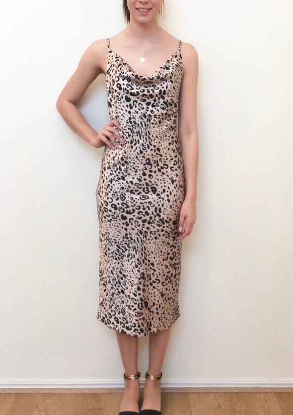 Leopard Print Cowl Neck Slip Dress