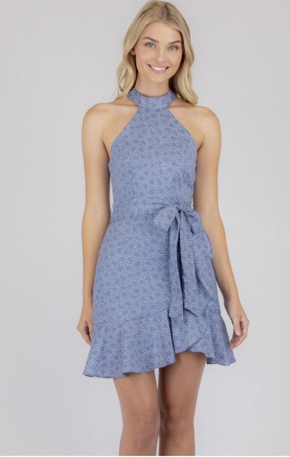 Halter Neckline Dress With Frill Hem