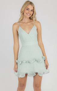 Singlet Strap Dress With Curled Frill Hem
