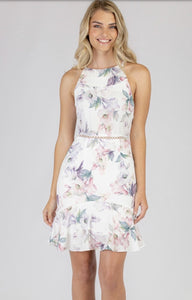 Printed Halter Neckline Dress With Trim Detail