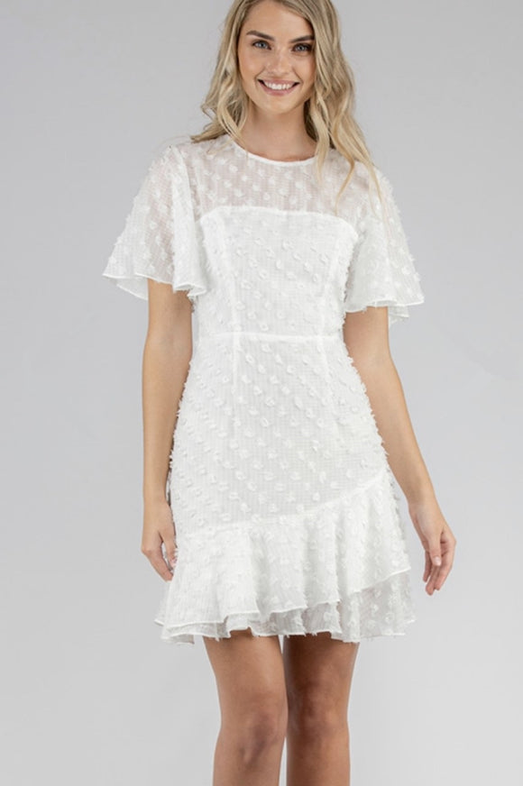 Textured Dress With Frill Hem And Flutter Sleeves