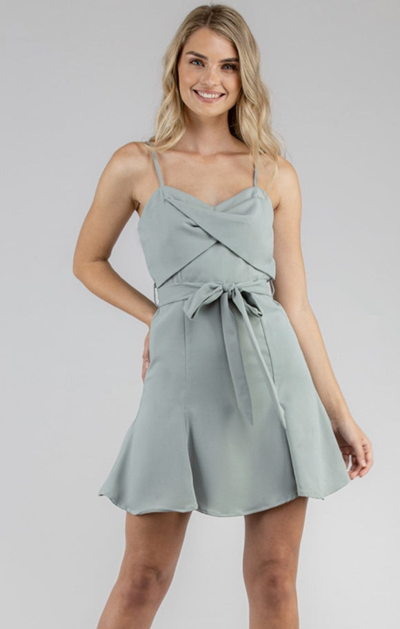 Twist Front Mini Dress With Belt Detail