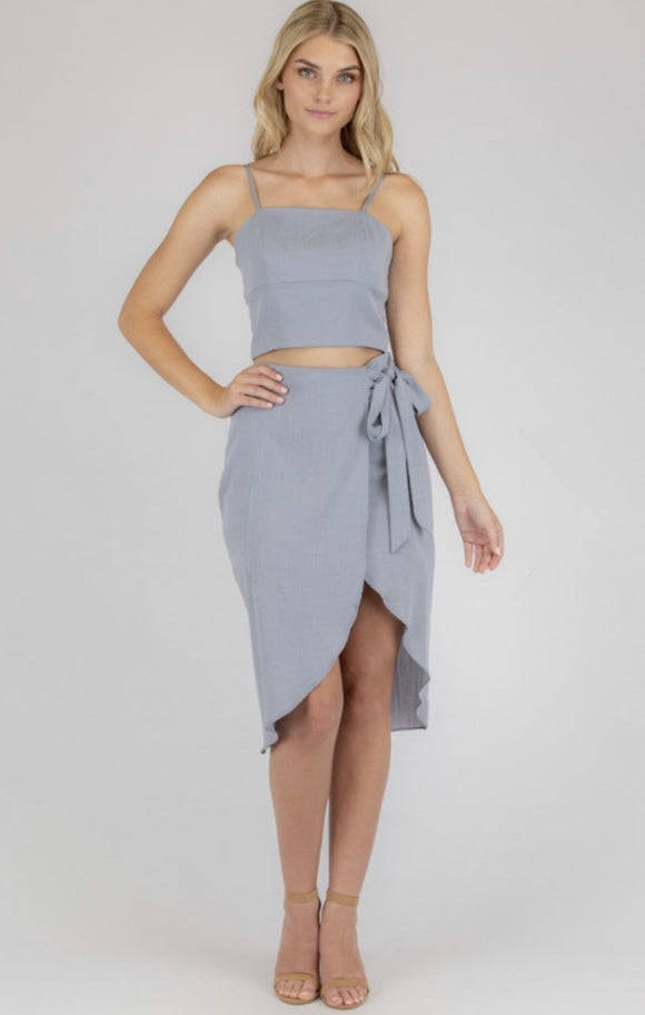 Set With Crop Top And Wrap Skirt