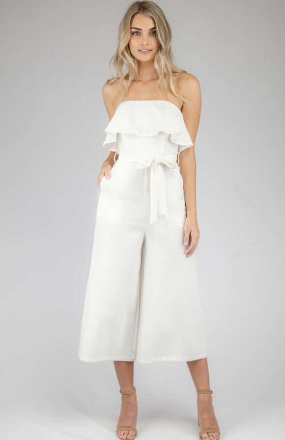 Wide Leg Ruffle Jumpsuit With Tie On Belt Details