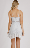 Halter Neckline Lace Dress With Intricate Trim Details