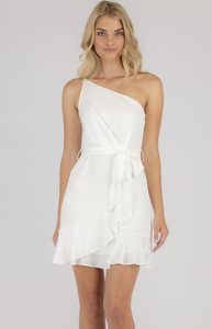 Asymmetrical Neckline Dress With Frill Hem