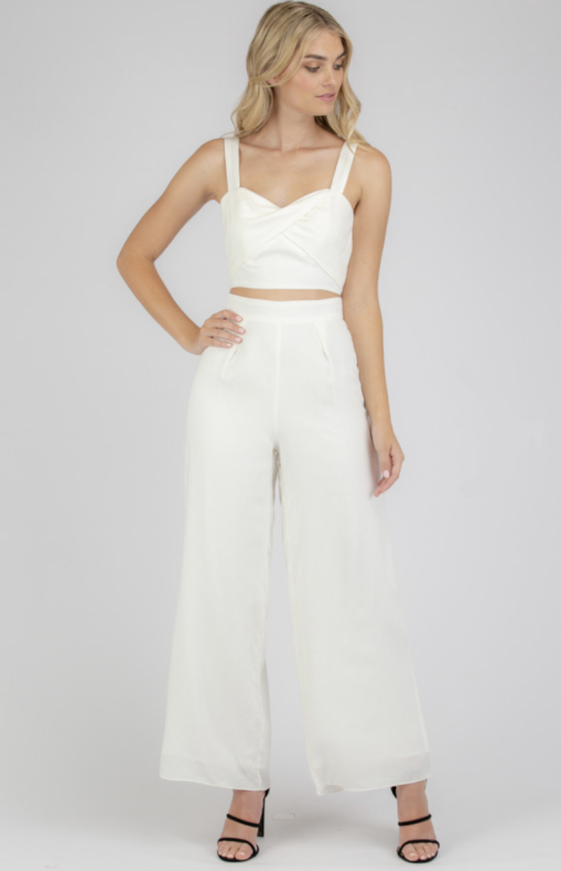 Cotton Set With Twist Front Crop Top And Pants