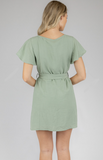 Boat Neckline Shift Dress With Self Fabric Belt