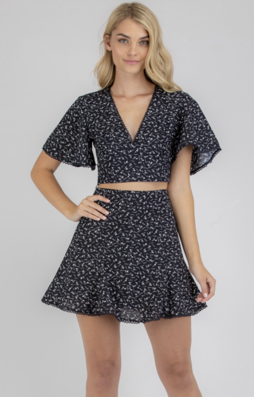 Floral Print Top & Skirt Set With Trim