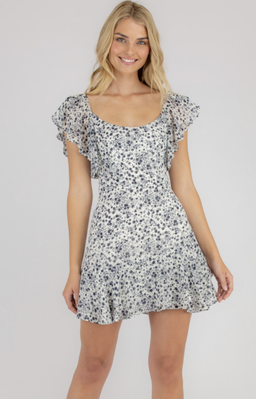 Printed Dress With Butterfly Sleeves