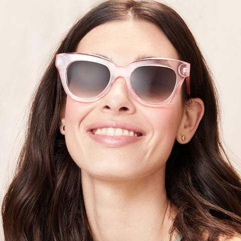 Jagger Rose crystal frame and grey gradient on brunette model