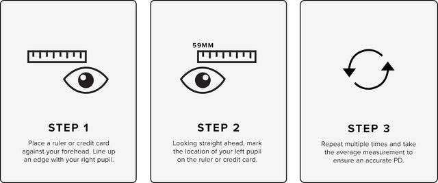 how to find pupillary distance, use a rule to measure the edge with your right pupil, mark location of your left pupil on the ruler or credit card, take the average measurement to ensure accurate PD after repeating multiple times