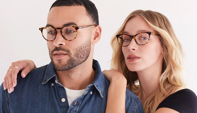 Man and Woman wearing blue light glasses