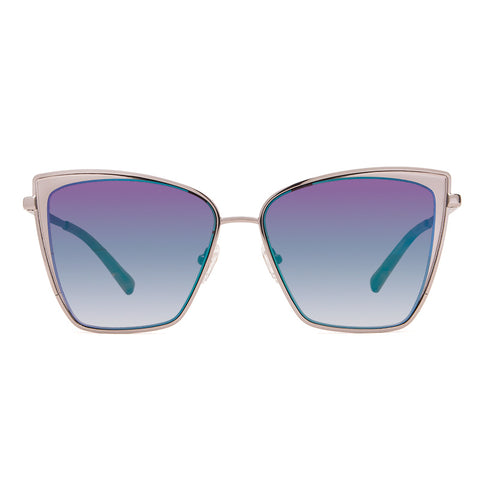 Cat Eye Sunglasses - Becky - Light Gunmetal + Blue Flash