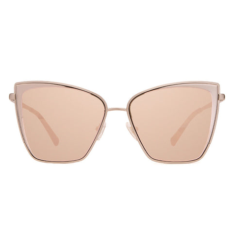 Cat Eye Sunglasses - Becky - Brushed Silver + Taupe Flash