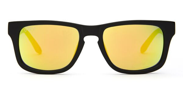 RILEY - BLACK FRAME - GOLD MIRROR LENS - DIFF Eyewear  - 1