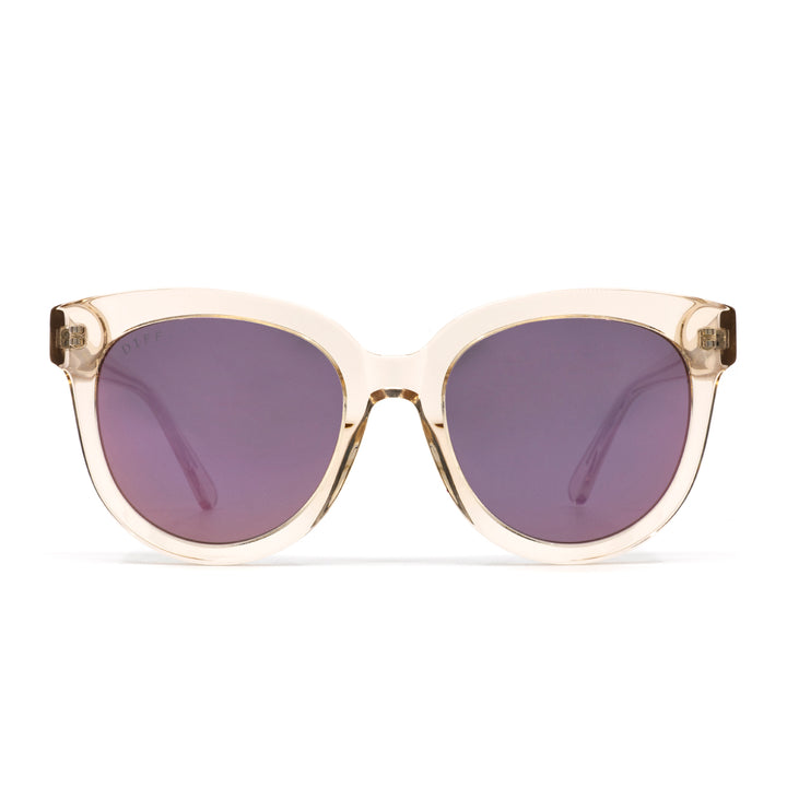 April sunglasses with blush crystal frame and taupe flash lens- front view