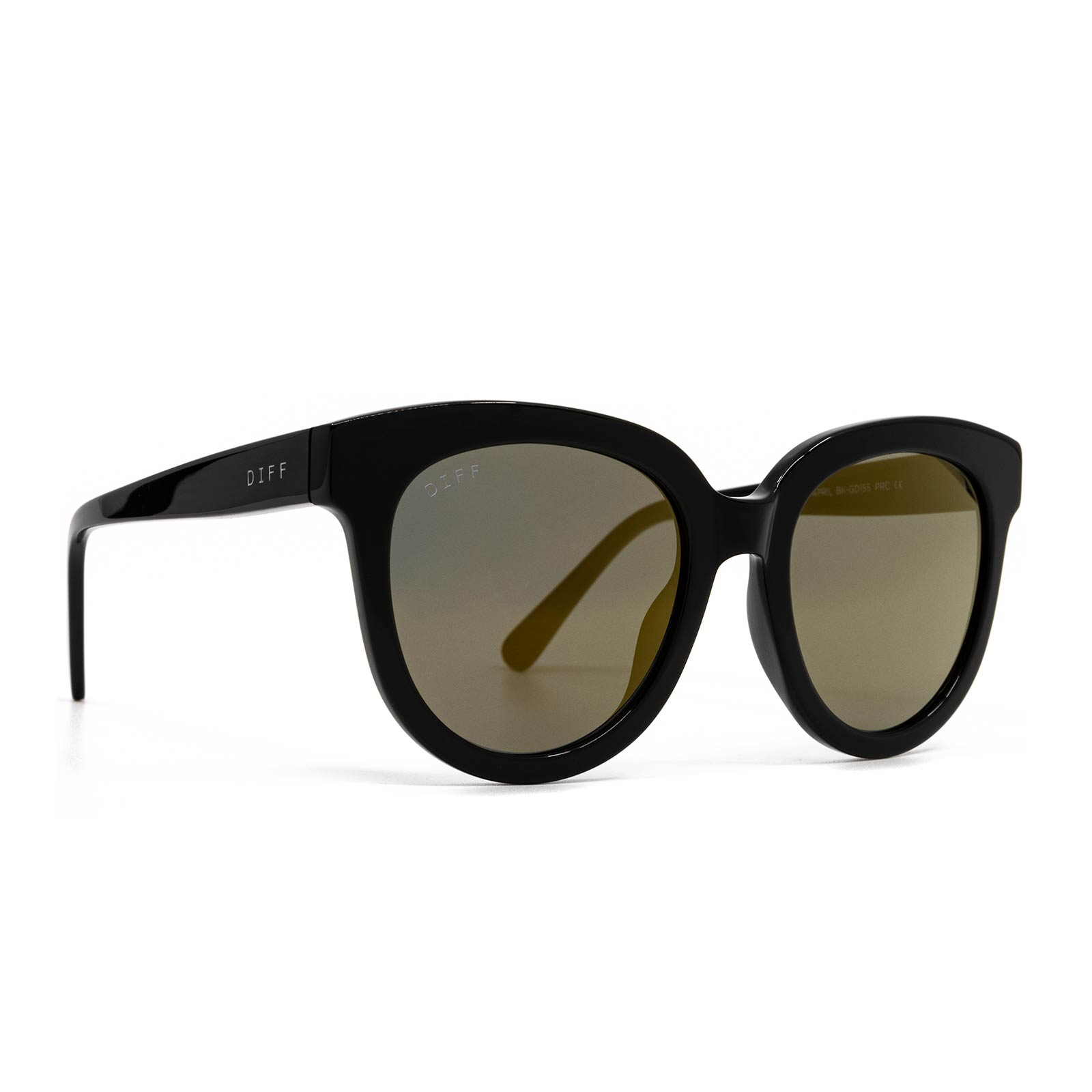 April sunglasses with black frame and gold mirror lens- angle view