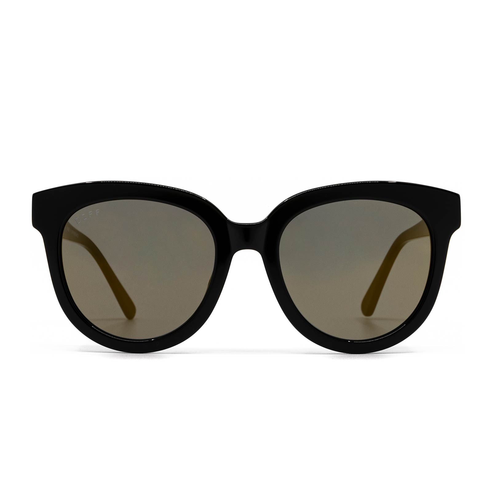 April sunglasses with black frame and gold mirror lens- front view