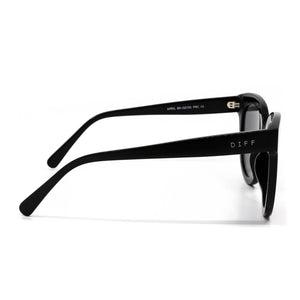 April sunglasses with black frame and gold mirror lens- side view